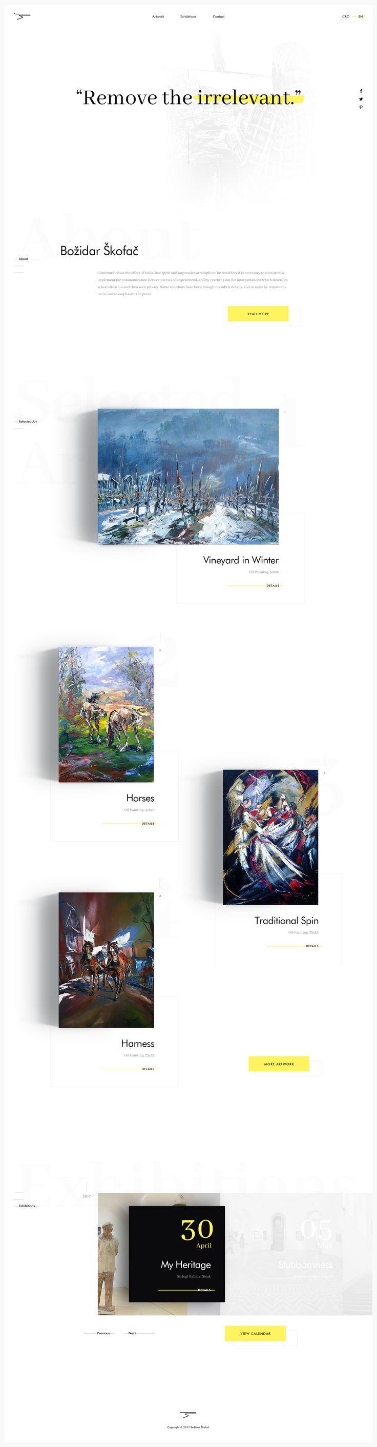 Skofac Artwok website. Ui design concept by CREATIVE Studio. (Interesting lightning angle)