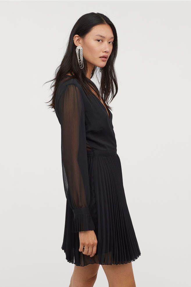 92cce85c9c Vestido plisado - Negro - MUJER