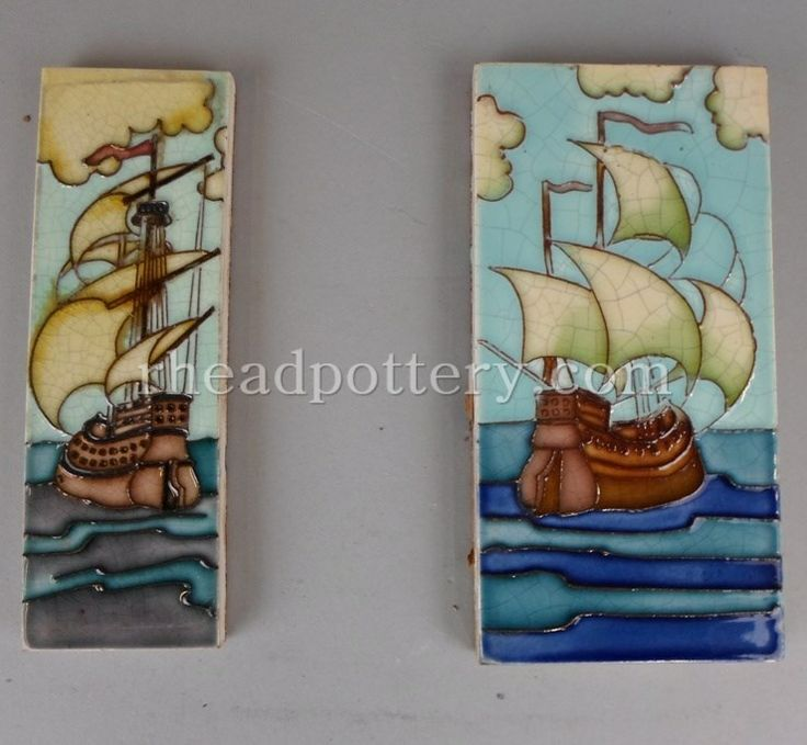 Charlotte Rhead tube-lined tiles featuring a pair of galleons (unframed), 15.5 x 8cm & 15.5 x 5cm - £620