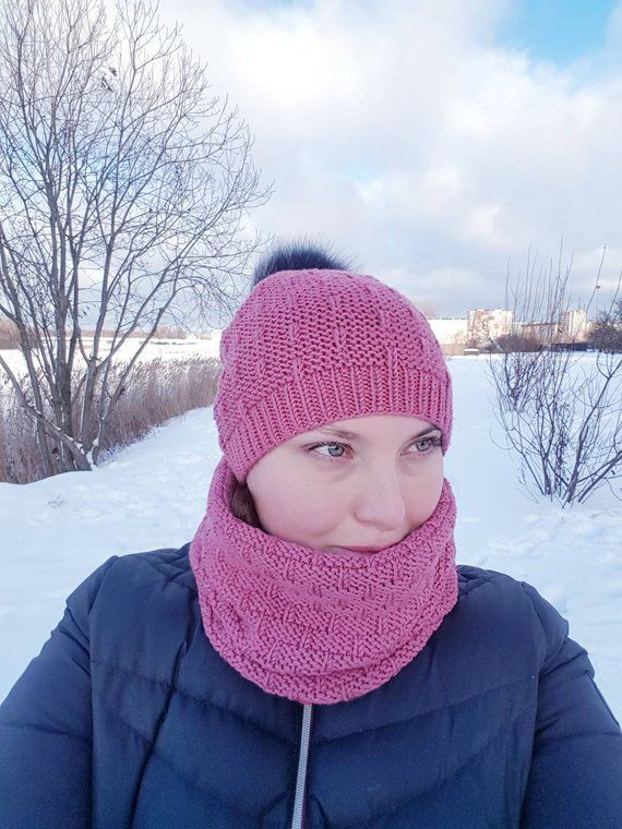 f6ed81b9394 Cerise pom pom hat and scarf set Merino wool knit set Winter