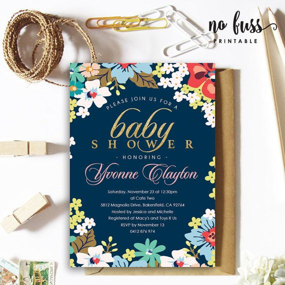 Royal Blue Flower Baby Shower Invitation 5x7 By NoFussPrintable