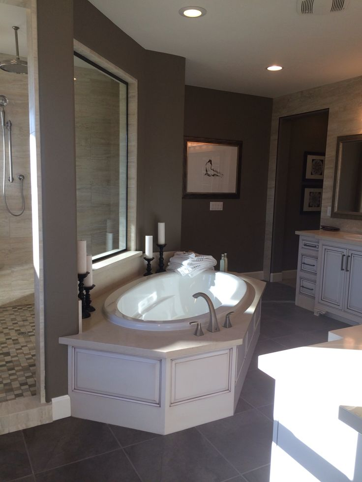 Great Bath Tub And Dual Head Shower With Two Entrances In This Master Bath Seen In A Standard