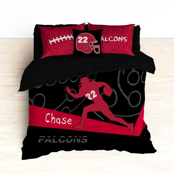 Falcons Bedding, Personalized Football Bedding, Custom Football Bedding, Black and Red, Duvet or Comforter, Football Bed, King, Twin, Queen
