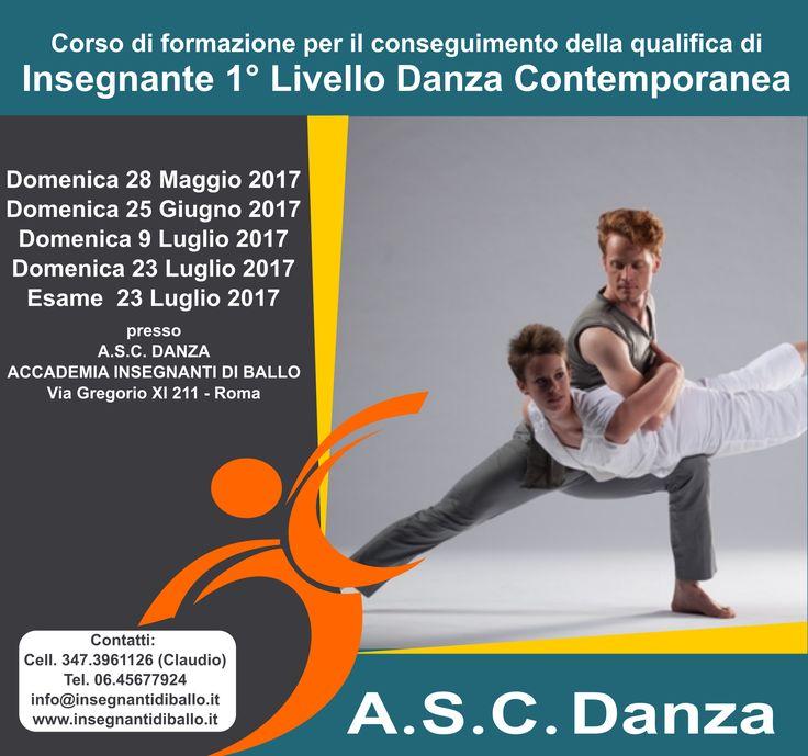 corso insegnante di danza contemporanea diploma nazionale asc riconosciuto coni
