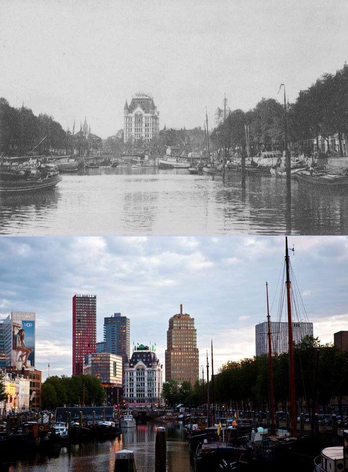 Rotterdam, old & new. | Deze foto is gemaakt vanaf de brug aan de Oostmolenwerf en kijkend over het Haringvliet met in de verte de Spanjaardsbrug en de daarachter gelegen Oudehaven. (rechts van het Witte huis staat het Bruine huis en links zien we het Rode huis)