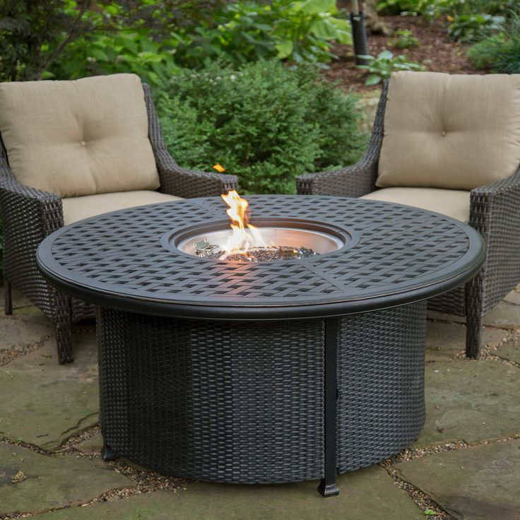 Alfresco Home 52 in. Weave Round Propane Fire Pit with Wicker Base   from hayneedle.com