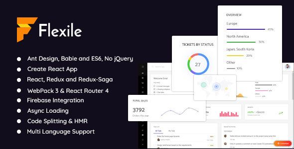 Flexile is a powerful react admin template based on Ant