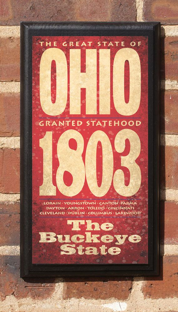 State of Ohio commemorative plaque. The Buckeye State.