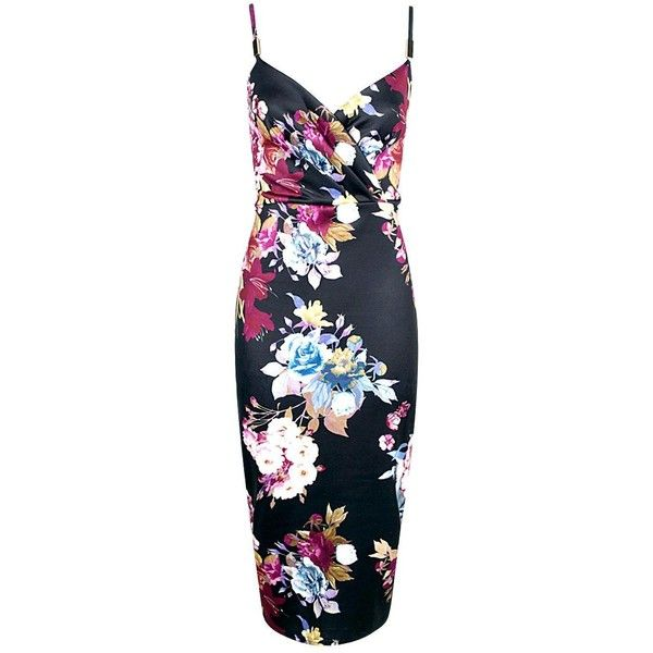 Boohoo Lana Dark Floral Wrap Midi Dress | Boohoo ($28) ❤ liked on Polyvore featuring dresses, floral day dress, flower print dress, wrap dress, boohoo dresses and blue floral dress