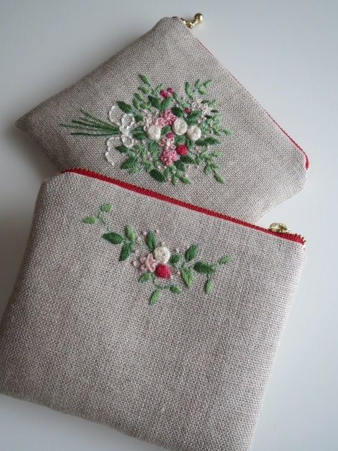 刺繡のミニポーチ(花束) 2x