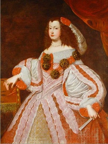 Maria Theresa of Spain wears enormous sleves, bare shoulders, large pearls, a large feather, and has a mass of loose waves.