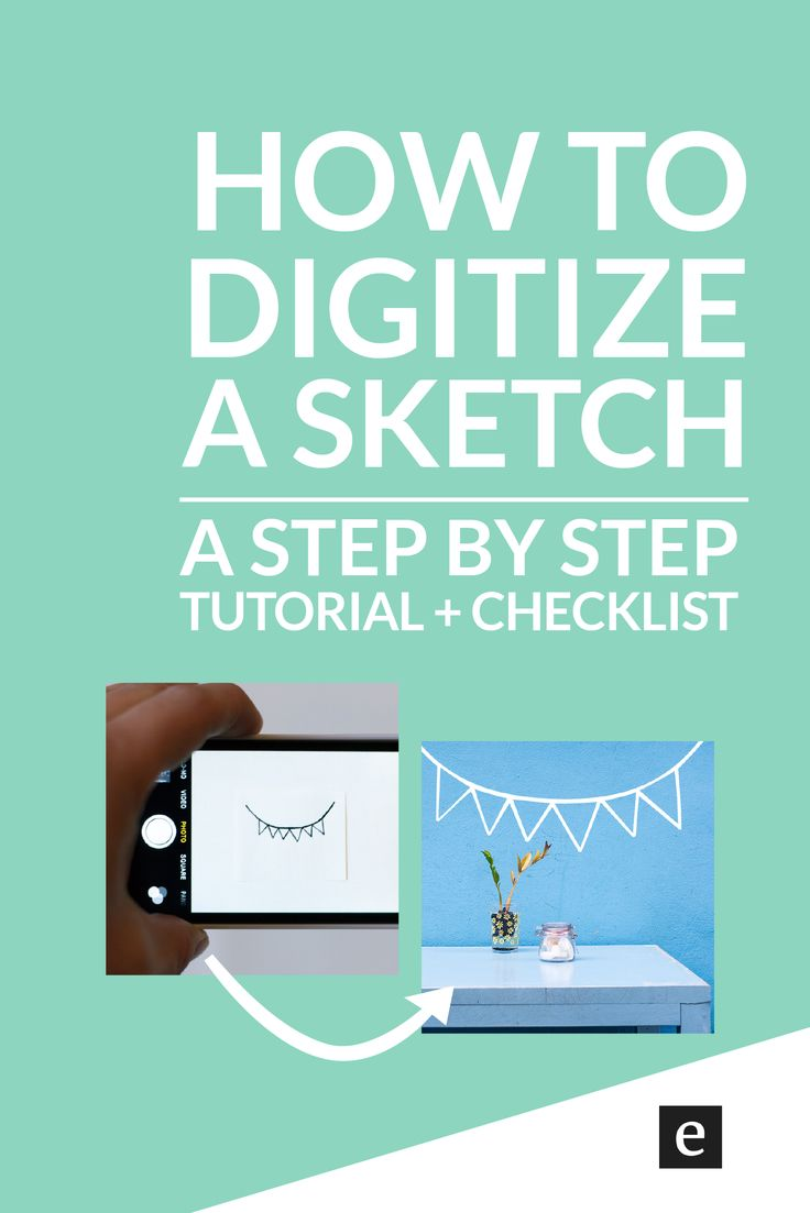 How To Turn A Sketch Into Digital Art (+ A Free Checklist) | Want to use a drawing to create digital art? Interested in digitizing a custom sketch? Perfect for a logo, blog graphic, or pattern, use this tutorial to easily digitize a sketch with Adobe Illustrator.