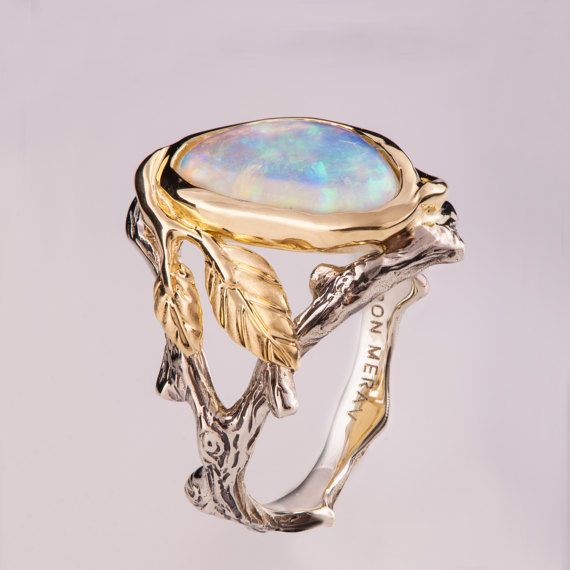 Twig and Leaf Engagement Ring  Opal engagement ring by doronmerav