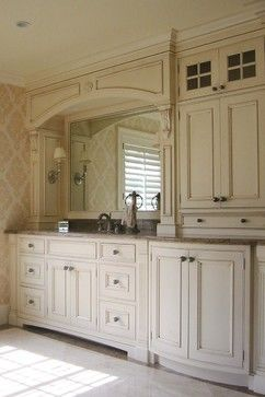 Vanity Tower With Valance Across Sink Lights In Valance And Also Sconces Backsplash With