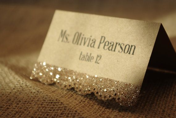 Sparkly Lace Place Card by BlissBridalGifts on Etsy, $1.95 im totallly doing this cutteeeeee