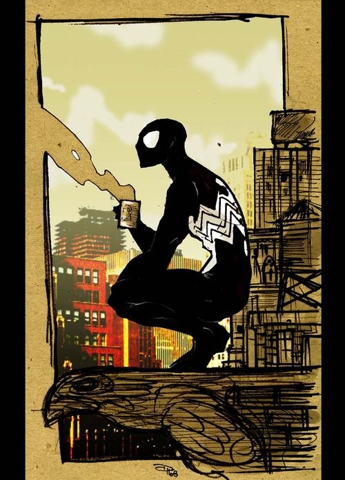 Spider-Man by Denis Medri. We all need coffee, even us Super Heros
