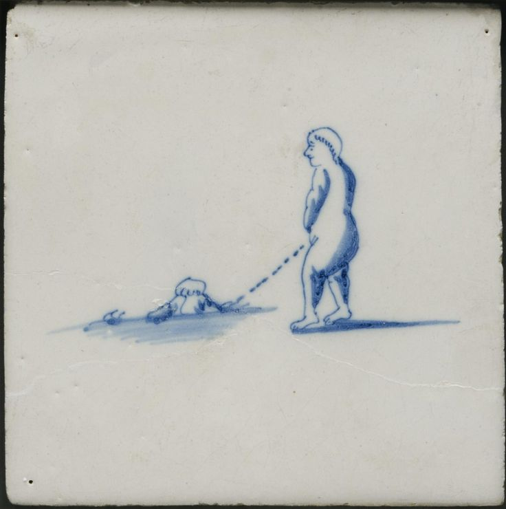 Boy Urinating - Tile made in The Netherlands, 1800-25 / Tin-glazed earthenware with blue decoration. A lot of Delft tiles show people urinating, defecating and vomiting!