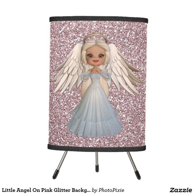 Little Angel On Pink Faux Glitter Background Tripod Lamp