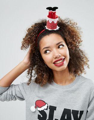 Fun Santa Chimney Headband $12.50 Cute Christmas holidays hair gifts ideas for her.