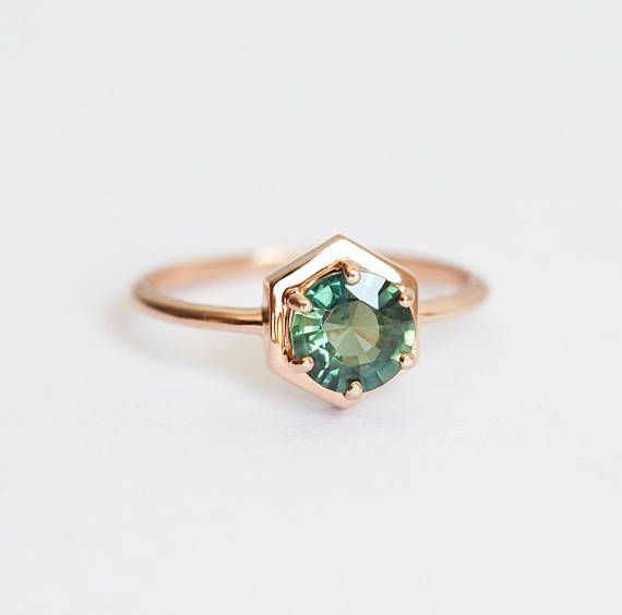 Teal blue sapphire ring. Simple engagement ring with beautiful 0.9 - 1 carat teal blue sapphire. Price is for solitaire ring. Set is available here: https://www.etsy.com/listing/270315096/green-sapphire-engagement-ring-mint?ga_search_query=sapphire+set&ref=shop_items_search_3 Sapphire