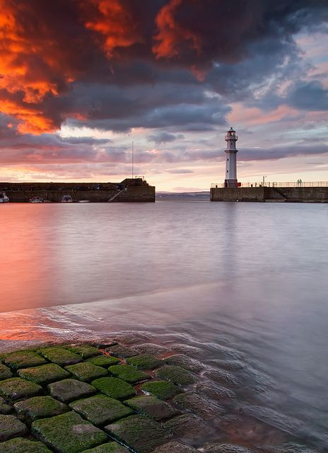 Newhaven, Edinburgh, Scotland lighthouse at dusk by blue fin art (Rod Goodwin), via Flickr