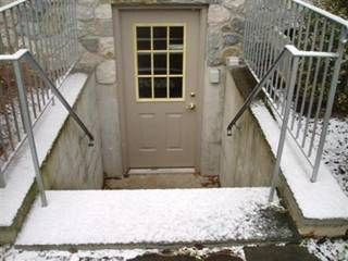 Basement steps the o 39 jays and knobs on pinterest for Exterior basement access doors