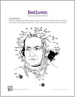 Ludwig van Beethoven | Multiplication Connect-the-Dot Worksheet