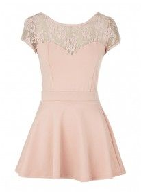 Lace Flared Dress With Cap Sleeves Pink