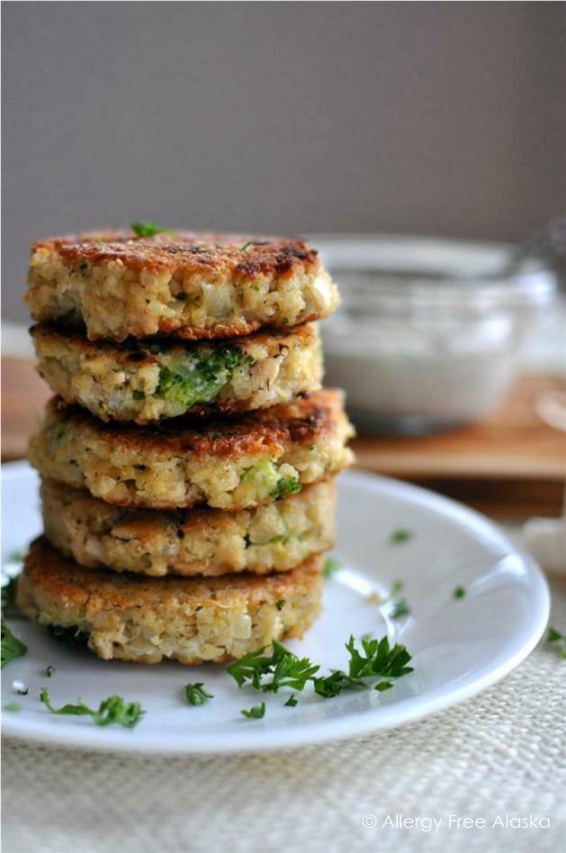 GF Tuna & Broccoli Quinoa Patties with Lemon Caper Sauce - allergyfreealaska.com