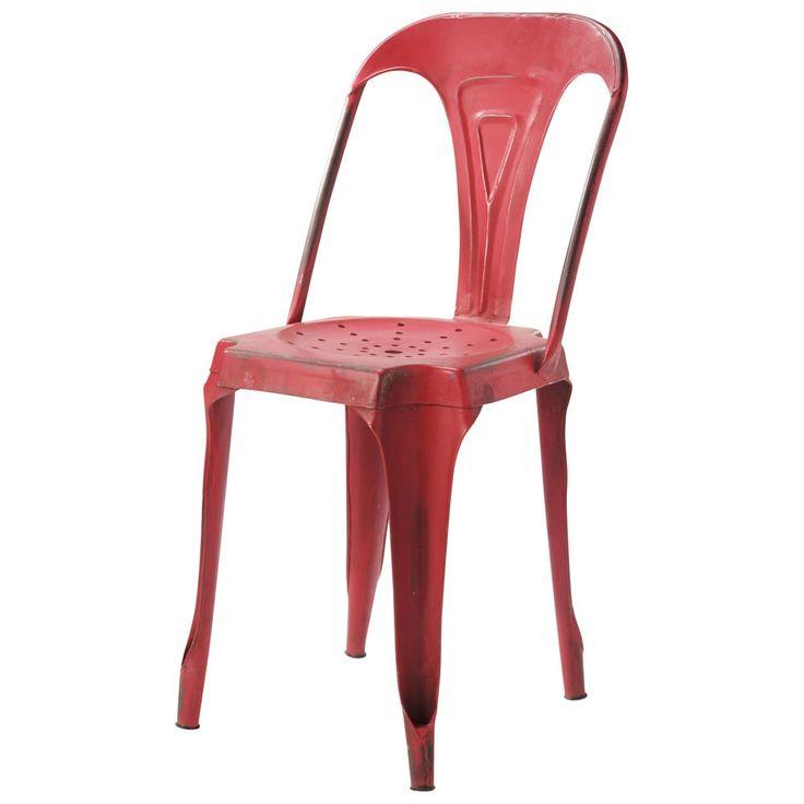 Rode metalen industriële stoel