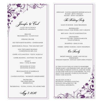 Wedding Program Template Chic Bouquet Plum by DiyWeddingTemplates