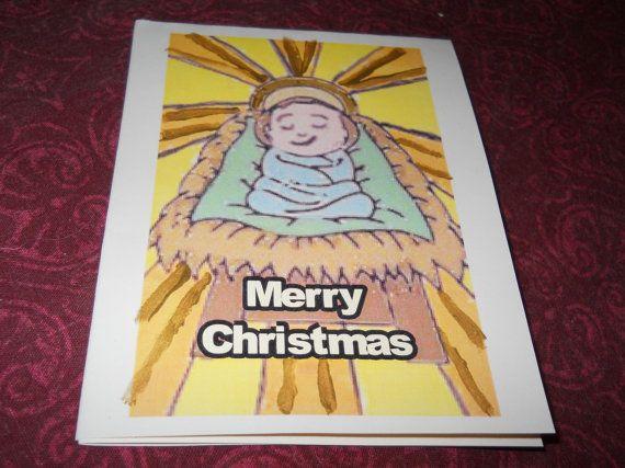 Box of 10 handmade Baby Jesus Merry Christmas by CelestialStudio13, $19.32