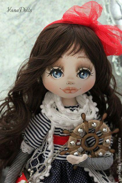 Ассоль - тёмно-синий,кукла,лето,пляж,морская,море,штурвал,кукла текстильная