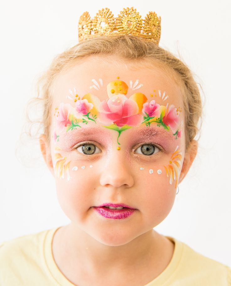 Princess Rose, Face Painting design by Brisbane face painter, Fairy Sparkles Face Painting.