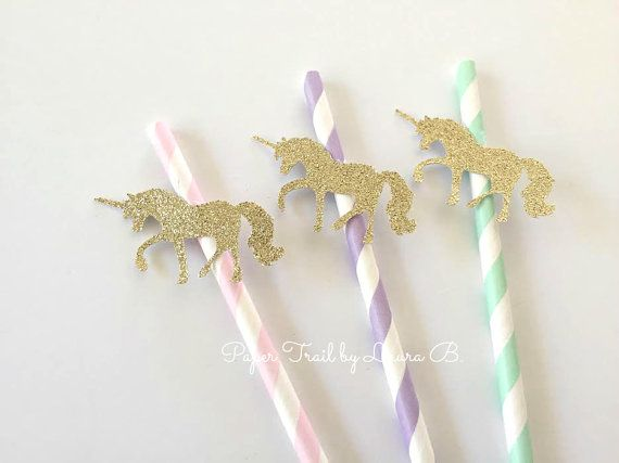 20 Unicorn Party Paper Straws in Pink, Lavender, Mint. Gold Glitter Magical Unicorn. Unicorn Kisses Decor. Pink and Gold Party Decorations.