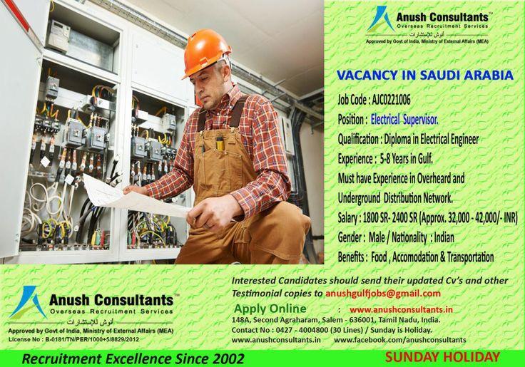 Electrical supervisor vacancies in saudi arabia required