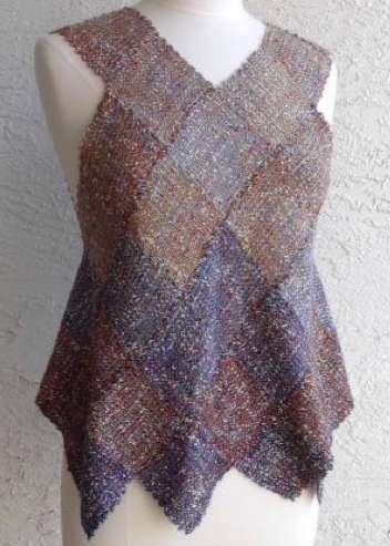 ZOOM Loom Harlequin Vest. Easy to make, fun to wear. Make this stunning vest in two weekends using our gorgeous Tempo yarn.