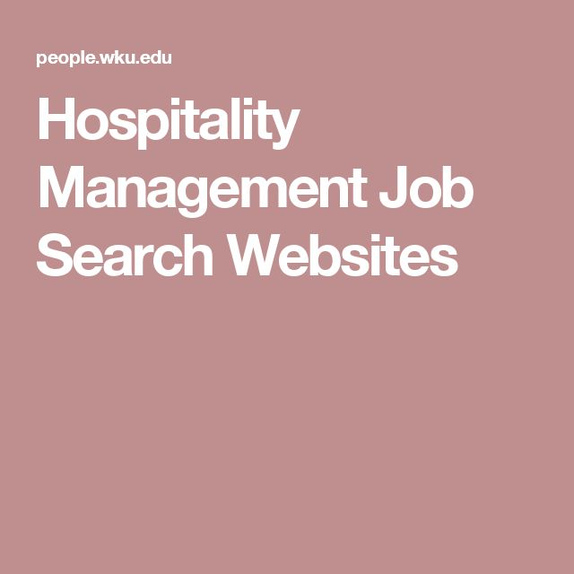 Hospitality Management Job Search Websites