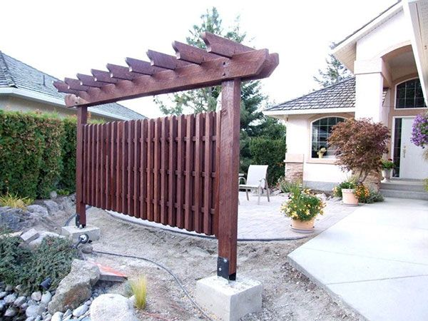A freestanding structure to give privacy to a front yard patio