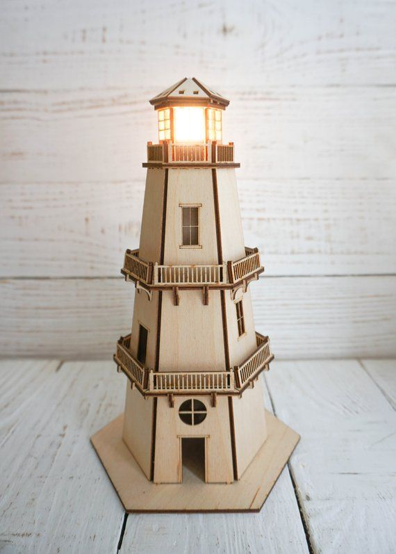 Lampada Lampada In Legno Di Beacon Faro 3d Modello Beacon Etsy Lighthouse Lamp Lamp Night Light Lamp