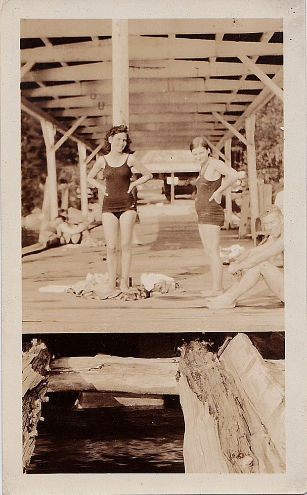 Old Antique Vintage Photograph Sexy Young Girls In Bathing Suits On Bridge