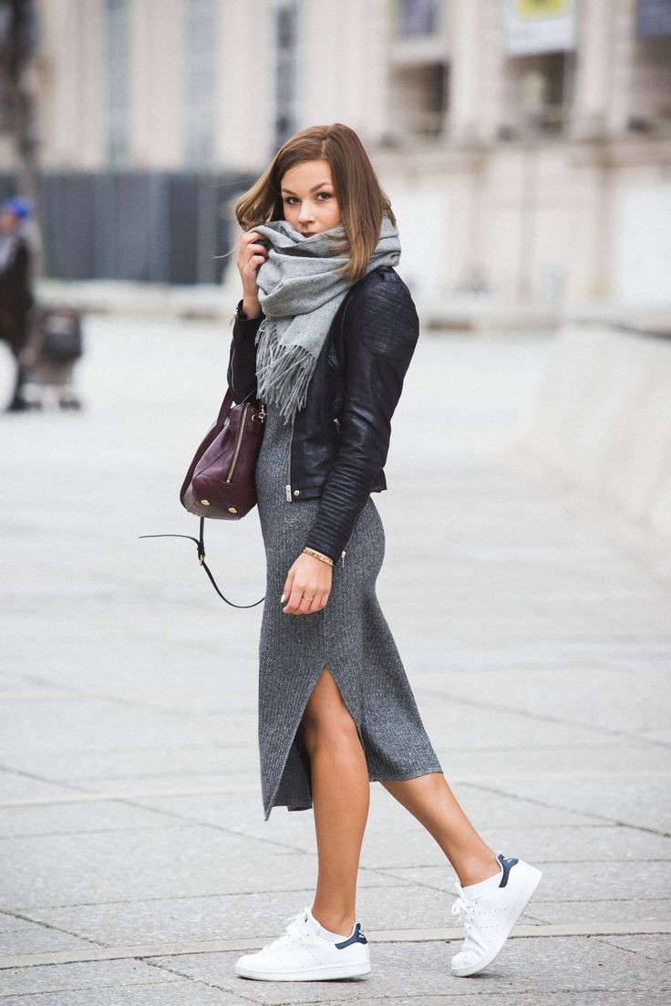 Weekend wear - sneakers & a cozy scarf are the perfect pairing for a dress on the weekend.