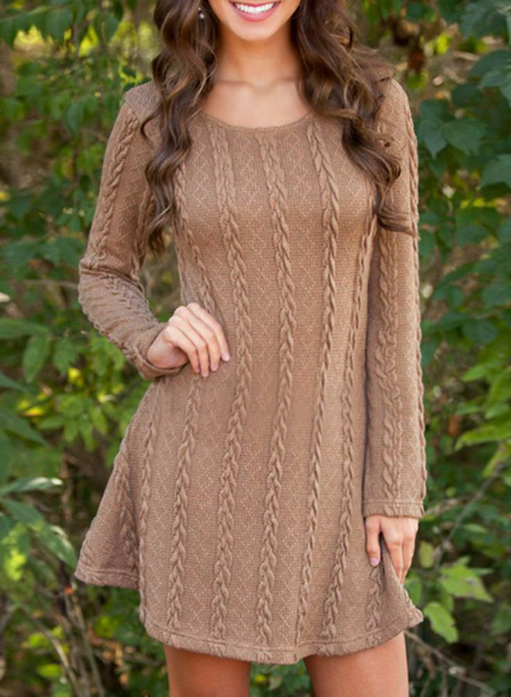 Simple Cable Knit Round Neck Sweater Dress