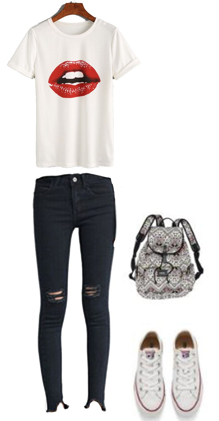 Design your own t-shirt front and back - How To Wear Casual School Outfit For Teens White Lipstick Print T Shirt