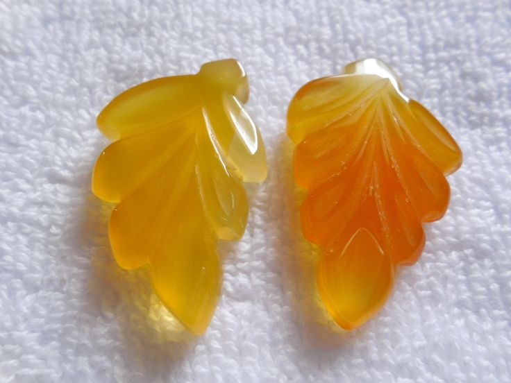 2Psc Yellow Chalcedony Carved Leaf Beads,Chalcedony Carved Beads,Gemstone Pendant Beads,Jewelry Making Gemstone beads by InternationalByBeads on Etsy