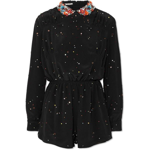 Miu Miu Embellished silk-georgette playsuit ($4,485) ❤ liked on Polyvore featuring jumpsuits, rompers, black, floral print romper, going out rompers, floral rompers, sequin romper and playsuit romper
