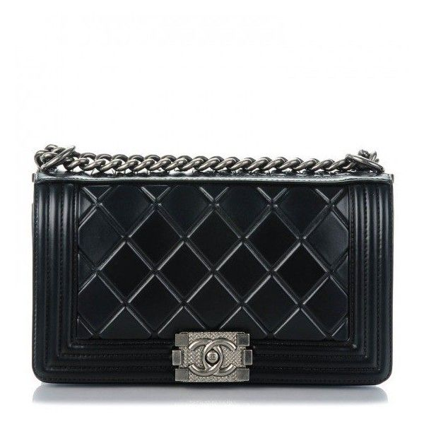 CHANEL Calfskin Embossed Medium Paris Salzburg Boy Flap Black ❤ liked on Polyvore featuring bags, handbags, shoulder bags, quilted handbags, flap shoulder bag, chanel, chanel shoulder bag and chain-strap handbags