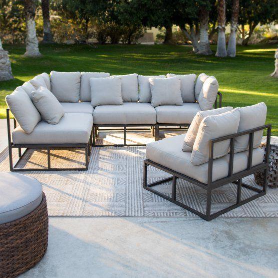 Outstanding Belham Living Bonaire Aluminum Outdoor Sectional Set Al Bralicious Painted Fabric Chair Ideas Braliciousco