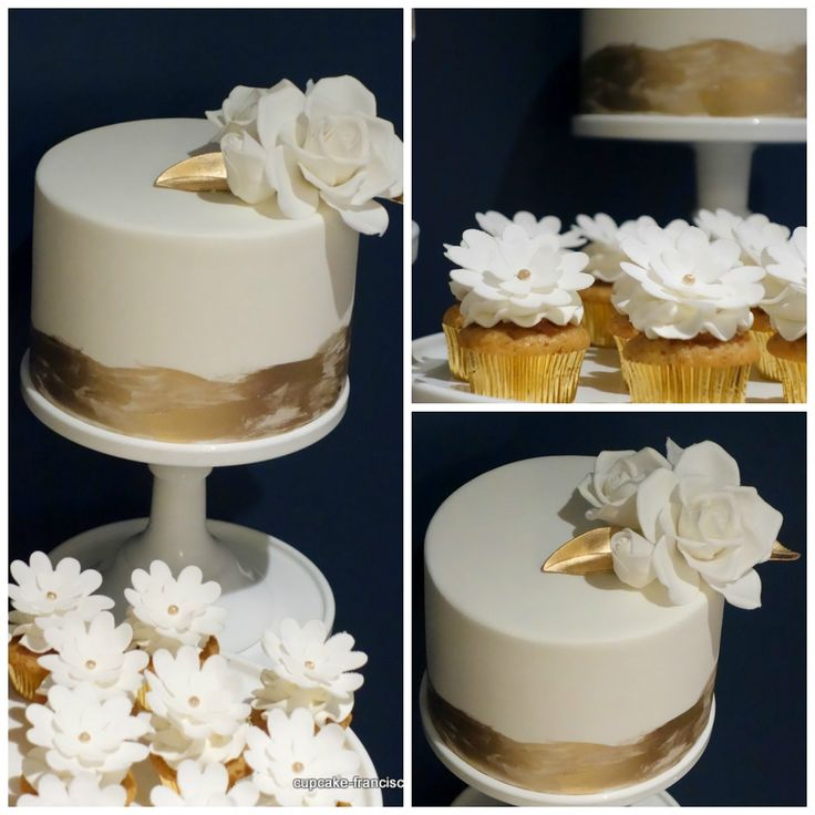 Cupcake: vintage white and gold dessert spread