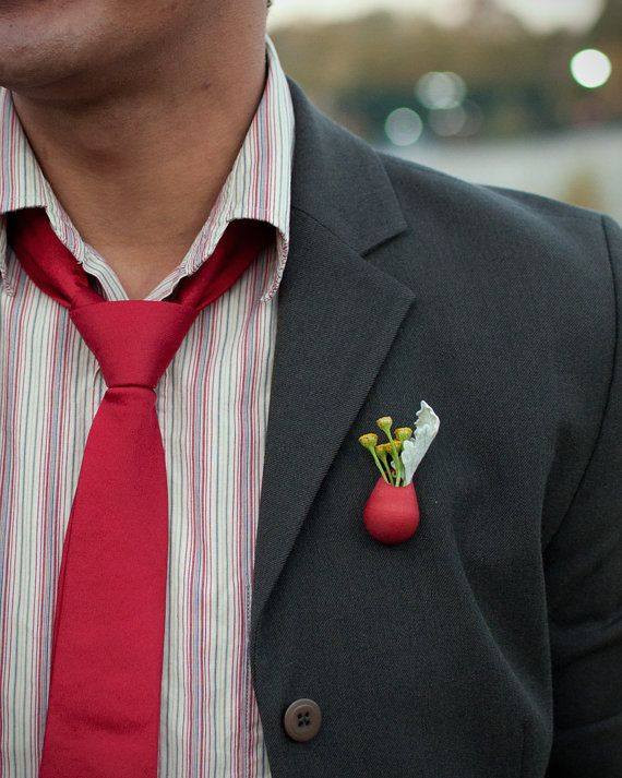 Ruby Planter Lapel Pin A Wearable Planter by wearableplanter, $35.00    Sooooooo getting this next paycheck!!  Cute!